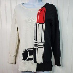 Chelsea & Theodore Lipstick Long Sleeve Sweater